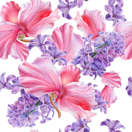 Seamless pattern with flowers. Hyacinth. Cyclamen. Watercolor illustration. Hand drawn. Stock Photo