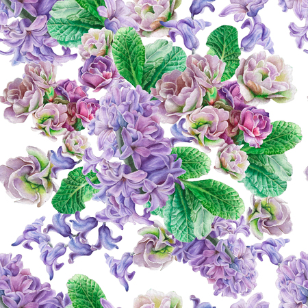 꽃과 원활한 패턴입니다. 비올라. 히아신스. 수채화 그림입니다. 손으로 그린.