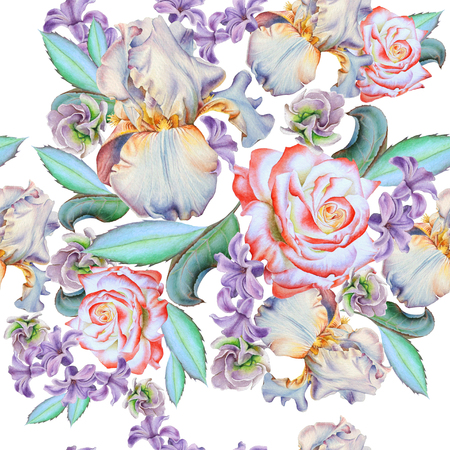 Seamless pattern with flowers. Rose. Iris. Hyacinth.  Watercolor illustration. Hand drawn. Banco de Imagens