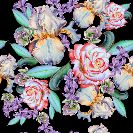 Seamless pattern with flowers. Rose. Iris. Hyacinth.  Watercolor illustration. Hand drawn. Фото со стока