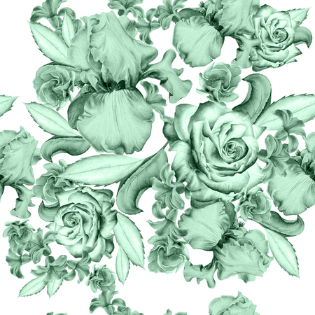 꽃과 원활한 패턴입니다. 장미. 아이리스. 히아신스. 수채화 그림입니다. 손으로 그린.