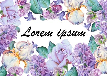 초대 카드 수채화 꽃입니다. 장미. 아이리스. 히아신스. 손으로 그린.