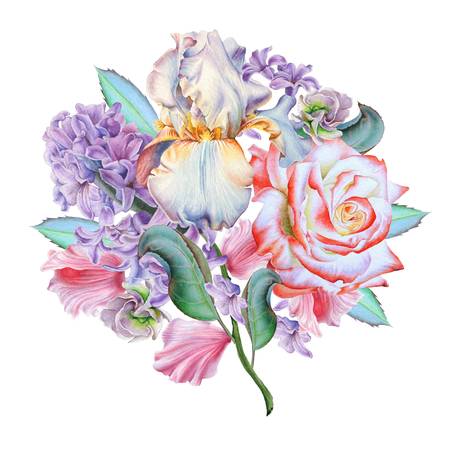 Watercolor bouquet with flowers. Rose. Iris. Hyacinth. Illustration. Hand drawn. Stok Fotoğraf