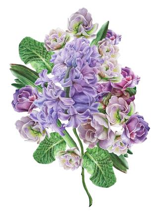 꽃과 수채화 꽃다발입니다. 비올라. 히아신스. 삽화. 손으로 그린.
