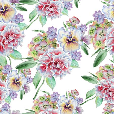 花のシームレスなパターン。パンジー。 カーネーション。 アジサイ。水彩イラスト。手描き。