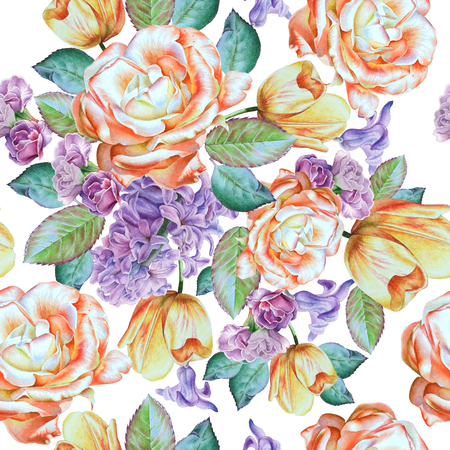 Seamless pattern with flowers. Rose. Hyacinth. Tulip. Watercolor illustration. Hand drawn. Banco de Imagens