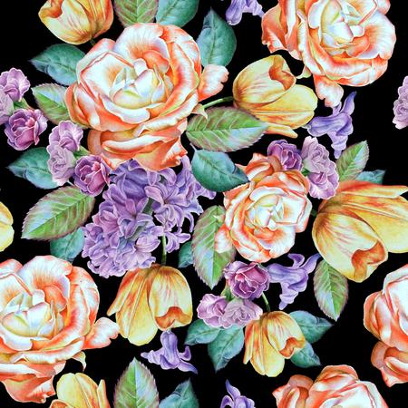 꽃과 원활한 패턴입니다. 장미. 히아신스. 튤립. 수채화 그림입니다. 손으로 그린. 스톡 콘텐츠