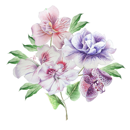Floral card with flowers. Petunia. Alstroemeria. Orchid. Watercolor illustration. Hand drawn