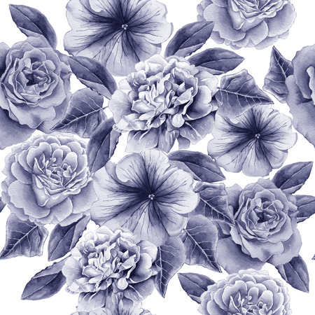 Seamless pattern with flowers. Peony. Rose. Petunia. Watercolor illustration. Hand drawn