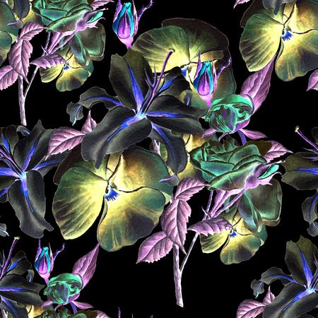 Modello senza cuciture con i fiori. Lilia. Viole del pensiero. Rosa. Illustrazione ad acquerello Disegnato a mano Archivio Fotografico - 89422614