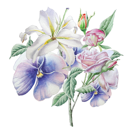 Floral card with flowers. Lilia. Pansies. Rose. Watercolor illustration. Hand drawn Stock Photo