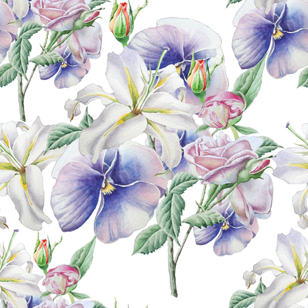Seamless pattern with flowers. Lilia. Pansies. Rose. Watercolor illustration. Hand drawn Фото со стока