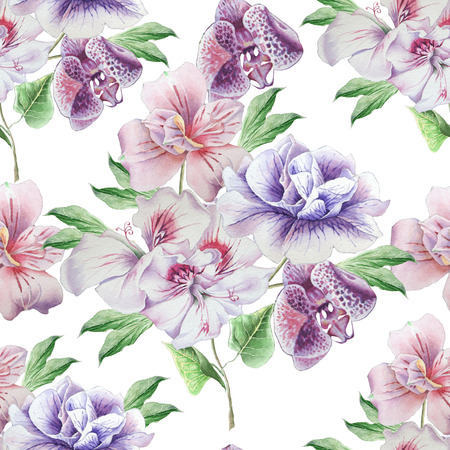 Seamless pattern with flowers. Petunia. Alstroemeria. Orchid. Watercolor illustration. Hand drawn