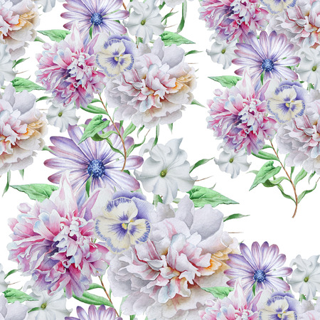 Bright seamless pattern with flowers.Peony. Petunia. Pansies. Watercolor illustration. Hand drawn.