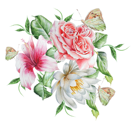 Rose.  Hibiscus. Lily. Butterfly.  Watercolor illustration. Hand drawn.