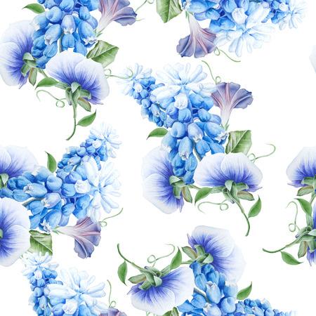 꽃과 밝은 원활한 패턴입니다. 수채화 그림입니다. 피튜니아. 팬지. 히아신스. 손으로 그린. 스톡 콘텐츠