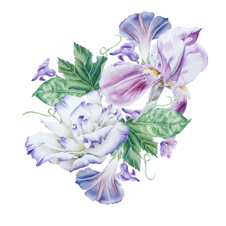 Watercolor bouquet with flowers.  Petunia.  Eustoma. Iris. Watercolor illustration. Hand drawn.