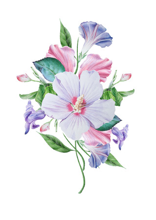 Watercolor bouquet with flowers. Hibiscus. Petunia.  Illustration. Hand drawn.