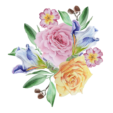Watercolor bouquet with flowers.  Rose. Iris.. Primula. Watercolor illustration. Hand drawn. Imagens - 90545698