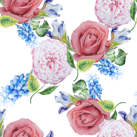 Bright seamless pattern with flowers. Rose. Iris. Hyacinth. Watercolor illustration. Hand drawn.