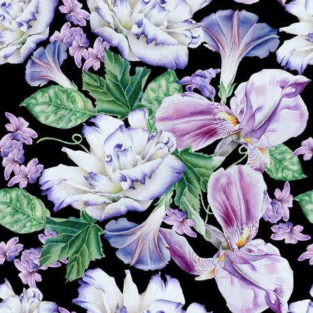 Bright seamless pattern with flowers. Petunia.  Eustoma. Iris. Watercolor illustration. Hand drawn Stock Photo