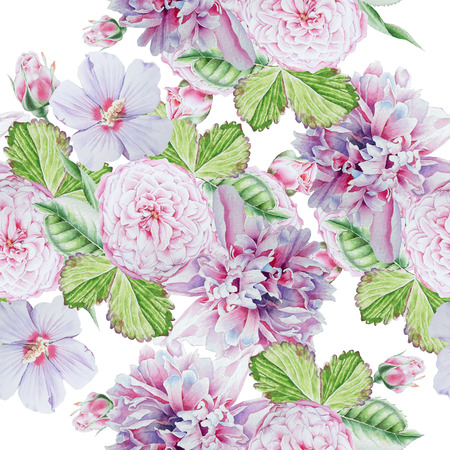 Bright seamless pattern with flowers. Peony. Rose. Hibiscus. Watercolor illustration. Hand drawn. Stock Photo