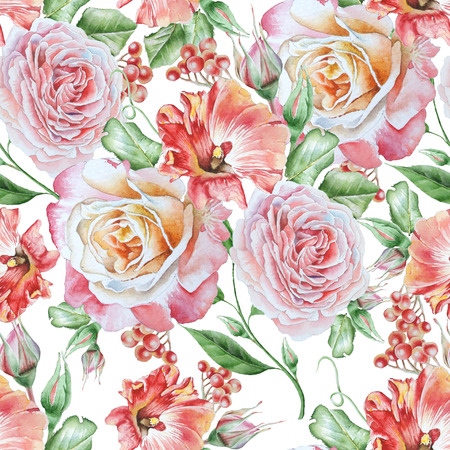 Bright seamless pattern with flowers. Petunia. Rose. Rowan. Watercolor illustration. Hand drawn.
