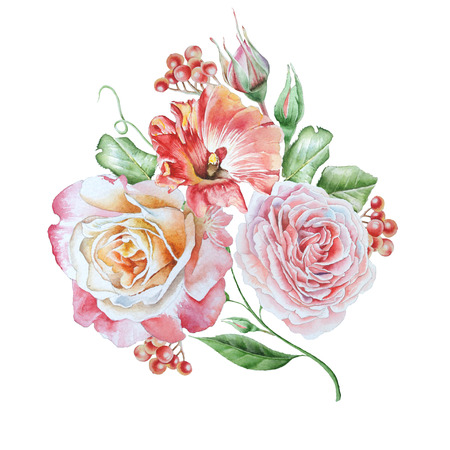 Watercolor bouquet with flowers. Petunia. Rose. Rowan. Watercolor illustration. Hand drawn. 写真素材