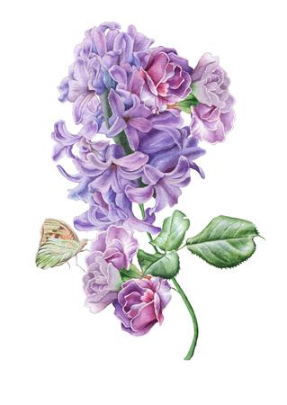 꽃과 수채화 꽃다발입니다. 라일락 꽃. 나비. 삽화. 손으로 그린.