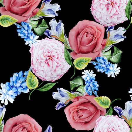 꽃과 밝은 원활한 패턴입니다. 장미. 아이리스. 히아신스. 수채화 그림입니다. 손으로 그린. 스톡 콘텐츠
