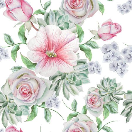 Bright seamless pattern with flowers. Rose. Succulents. Mallow. Watercolor illustration. Hand drawn. Stock Photo