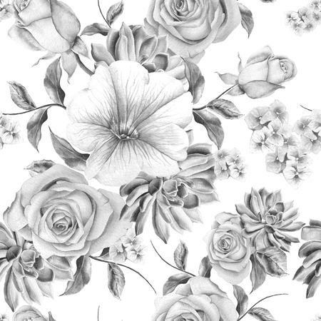 Bright seamless pattern with flowers. Rose. Succulents. Mallow. Watercolor illustration. Hand drawn. Zdjęcie Seryjne