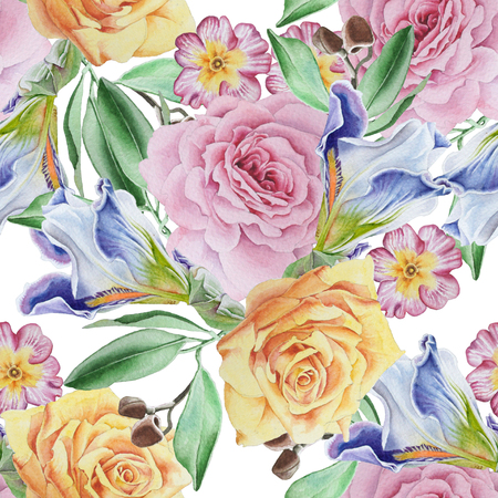 Bright seamless pattern with flowers. Rose. Iris.  Watercolor illustration. Hand drawn. Imagens