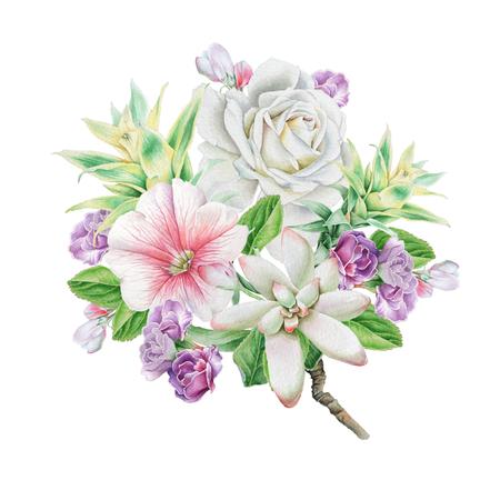 Aquarel boeket met bloemen. Roos. Lijsterbes. Vetplanten. Illustratie. Hand getekend.