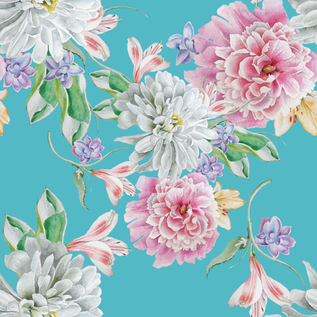 Bright seamless pattern with flowers. Watercolor illustration. Chrysanthemum. Peony. Hand drawn.