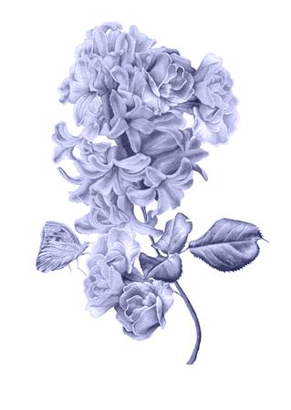 Acquerello con bouquet di fiori. Lilla. Farfalla. Illustrazione. Disegnato a mano. Archivio Fotografico - 92726427