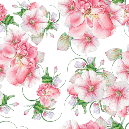 Bright seamless pattern with flowers. Rose. Petunia. Blossom. Watercolor illustration. Hand drawn. Stock Photo