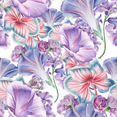 Bright seamless pattern with flowers. Orchid. Petunia.  Watercolor illustration. Hand drawn.