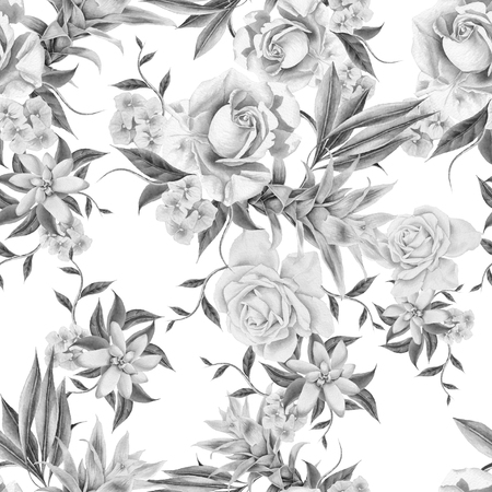 Monochrome seamless pattern with flowers. Rose. Bromeliad.  Watercolor illustration. Hand drawn. Banco de Imagens