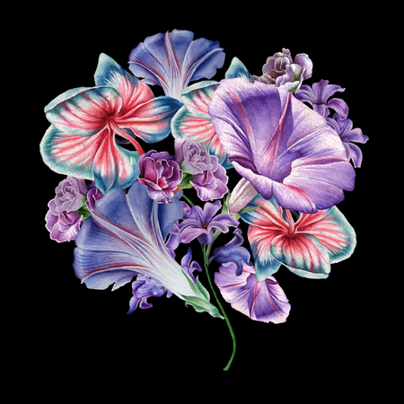 Watercolor bouquet with flowers. Orchid. Petunia. Illustration. Hand drawn. Banco de Imagens