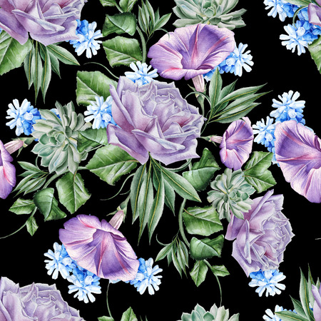 Bright seamless pattern with flowers. Rose. Petunia. Hyacinth. Succulent. Watercolor illustration. Hand drawn.