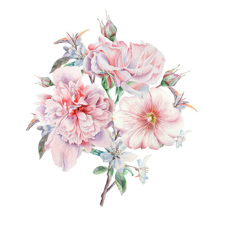 Watercolor bouquet with flowers. Rose. Peony. Mallow. Illustration. Hand drawn. Stock Photo