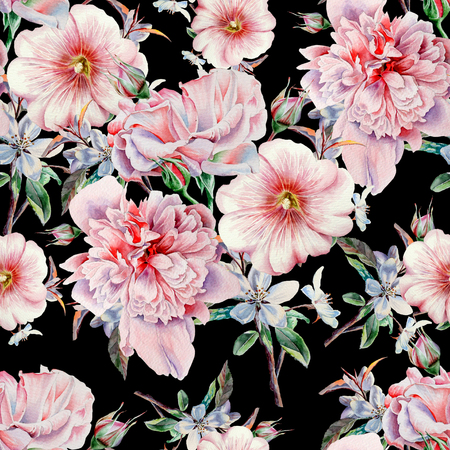 Bright seamless pattern with flowers. Rose.  Peony. Mallow. Watercolor illustration. Hand drawn.