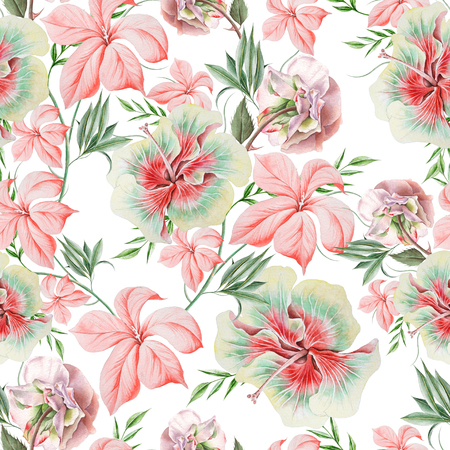 Bright seamless pattern with flowers. Rose. Hibiscus.  Watercolor illustration. Hand drawn. Stock Photo