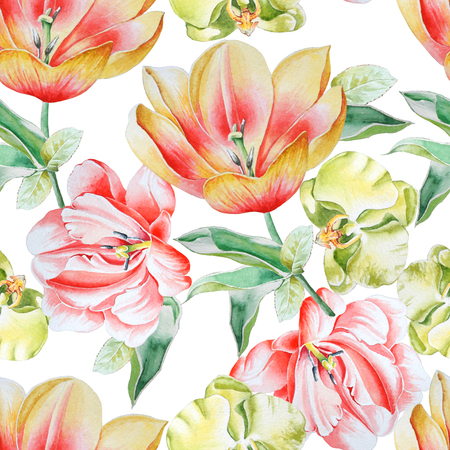 Bright seamless pattern with flowers. Tulip. Orchid. Watercolor illustration. Hand drawn.
