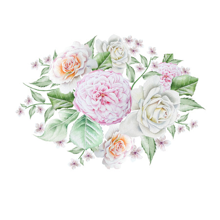 Watercolor bouquet with flowers.  Rose. Peony. Illustration. Hand drawn.