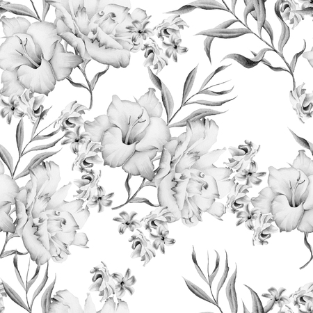 Monochrome seamless pattern with flowers. Gladiolus. Eustoma. Watercolor illustration. Hand drawn.