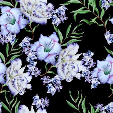 Bright seamless pattern with flowers. Gladiolus. Eustoma. Watercolor illustration. Hand drawn. Standard-Bild - 98863264