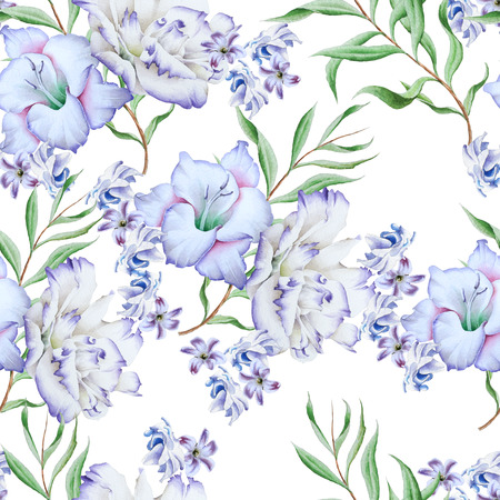 Bright seamless pattern with flowers. Gladiolus. Eustoma. Watercolor illustration. Hand drawn.