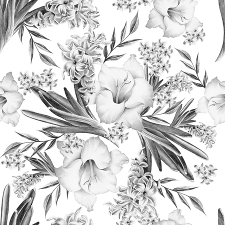 Seamless pattern with flowers. Gladiolus. Hyacinth. Watercolor illustration. Hand drawn.